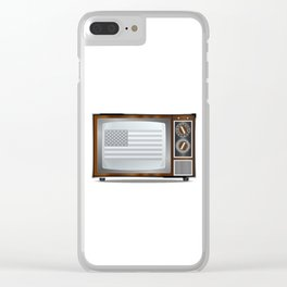 Patriotic Black And White Television Clear iPhone Case