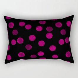Watercolor. Purple polka dot on black . Rectangular Pillow