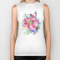 cherry blossom Biker Tanks featuring Cherry Blossom by A cup of grey tea