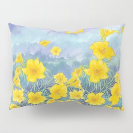 Stella D'Oro Daylily flowers over clouds Pillow Sham