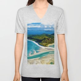 Crystal white sands and turquoise blue waters of Whitehaven Beach – Australia Unisex V-Neck