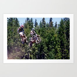 Closing In - Motocross Racers Art Print