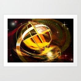 Golden celestial globe. Art Print