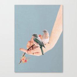 Birds on Hand Canvas Print