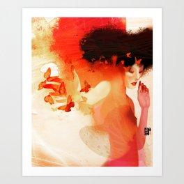 Madame butterfly solo orange  Art Print