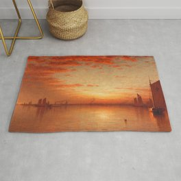 A Sunset, Bay of New York Landscape Painting by Sanford Robinson Gifford Rug