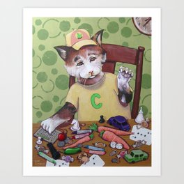 Capped Cat Counting Collectables Art Print