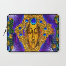 MYSTIC PEACOCK BLUE FEATHER EYES BUDDHA ART Laptop Sleeve