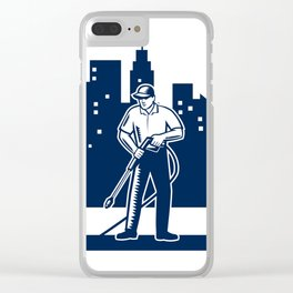 Pressure Washing Buildings Woodcut Retro Clear iPhone Case