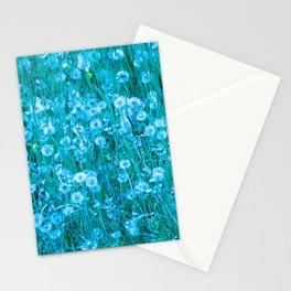 Dandelion meadow in turquoise Stationery Cards