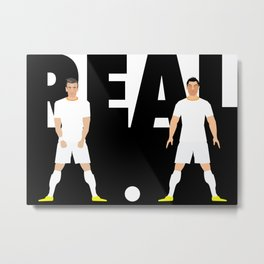 Ronaldo and Bale Real Illustration Metal Print