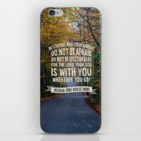 bible verse iPhone & iPod Skins featuring Joshua 1 verse 9 - Typographic Bible Verse by Chris Watts