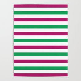 Berry pink, green and white horizontal stripes Poster
