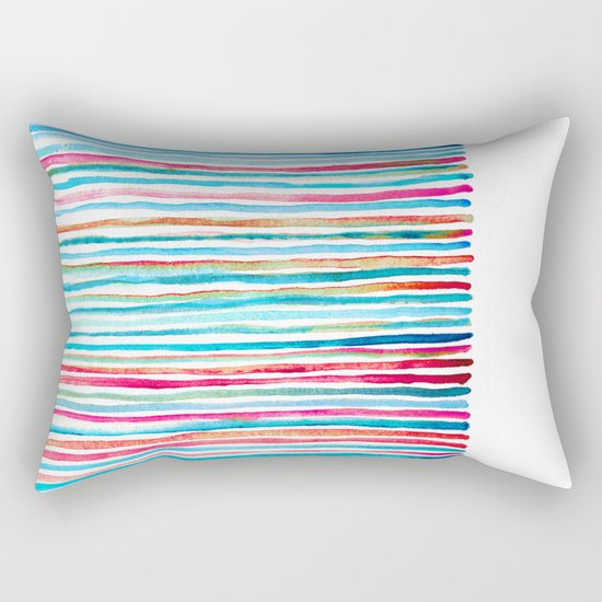 Watercolor Stripes in Pink, Coral, Blue & Aqua Rectangular Pillow