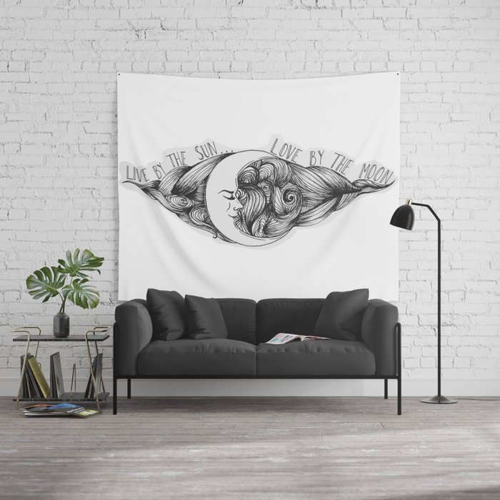 Live By The Sun Love Moon Wall Tapestry Ashleyroseart Society6