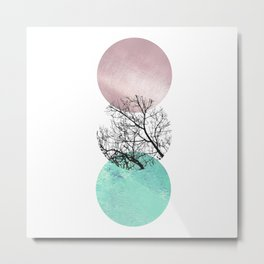 Lake in the forest under the pink sky Metal Print