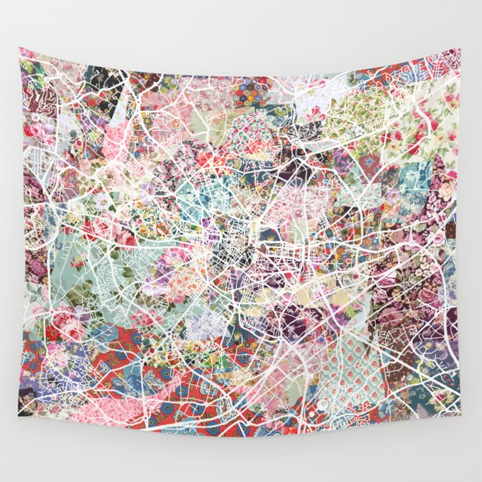 Montpellier map Wall Tapestry by poeticmaps Society6