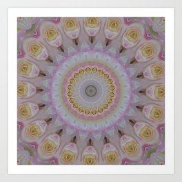Mandala Of Yellow Roses Art Print