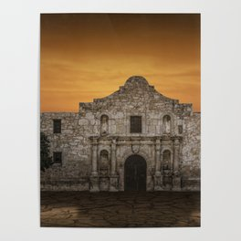 The Alamo Mission in San Antonio Texas with the Lonestar Flag Flying No.0256 A Fine Art Historical P Poster