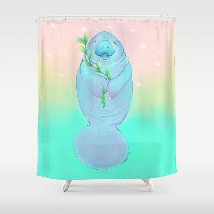Peace Love Manatee Shower Curtain