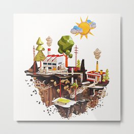 Floating Island in Low Poly style Metal Print