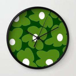 Spring Green Retro Flowers Dark Green Background #decor #society6 #buyart Wall Clock