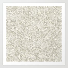 Paisley cream lacy ornament Art Print