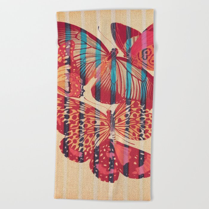 Butterflies in Strips Beach Towel