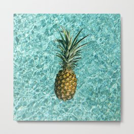 Pineapple Swimming Metal Print