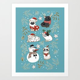 Christmas French Bulldog Art Print