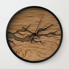 crack in the tree cracked piece of wood with shadow and texture Wall Clock