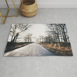 misty morning ride Rug