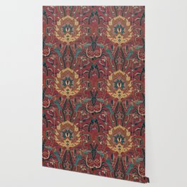 Flowery Arabic Rug II // 17th Century Colorful Plum Red Light Teal Sapphire Navy Blue Ornate Pattern Wallpaper