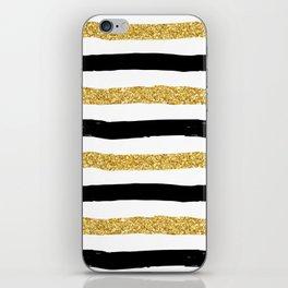 Black and Gold Glitter Brushstroke Stripes iPhone Skin