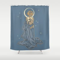 mucha Shower Curtains featuring Mucha Pin Up Girl by Karen Hallion Illustrations