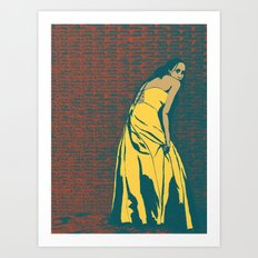 Lady in Yellow Dress Art Print