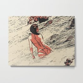 The Waves - sexy girl at beach, perfect shapes woman in bikini, hottie bathing Metal Print