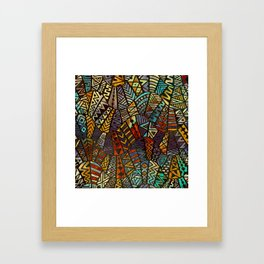 Tribal  Boho Pattern Gold and Paint Framed Art Print