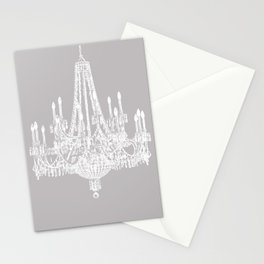 Chic White and Gray Chandelier   Stationery Cards