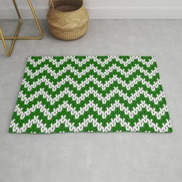 Green Christmas knitted chevron large scale Rug