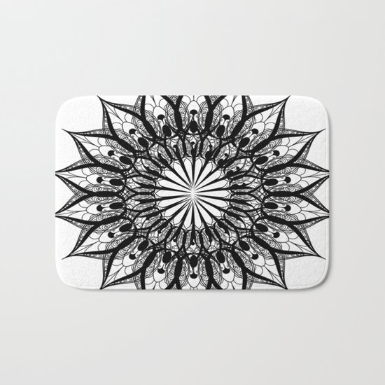 black and white flower Bath Mat