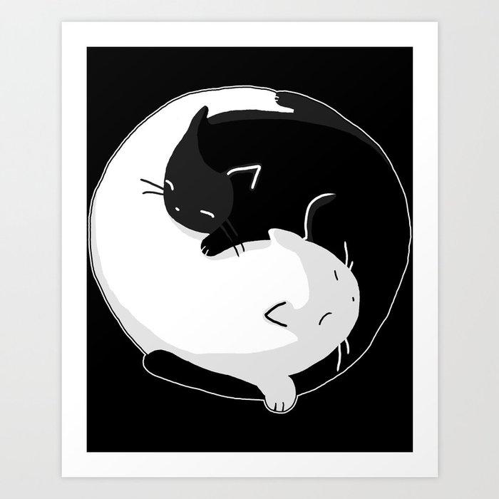 Yin Yang Cats Art Print by supretodesign