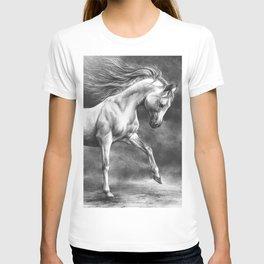 Running white horse - equine art T-shirt