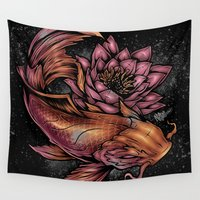 koi fish Wall Tapestries featuring Koi Fish by Absorb81