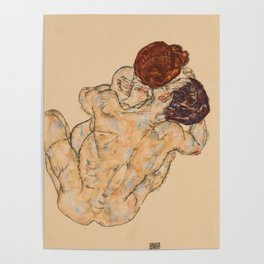 """Egon Schiele """"Mann und Frau, Umarmung"""" Poster"""