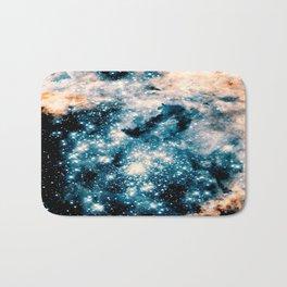 Nebula Galaxy Teal Peach Bath Mat