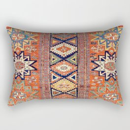 Southwestern Farmhouse III // 19th Century Colorful Red Yellow Blue Green Aztec Farm Stars Pattern Rectangular Pillow