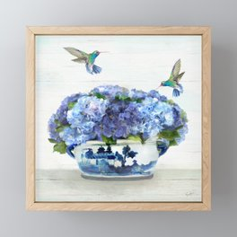 Hummingbirds in Hydrangea Framed Mini Art Print