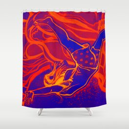For Funsies in blue and orange Shower Curtain