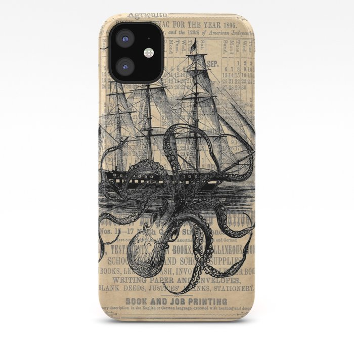 Octopus Kraken attacking Ship Antique Almanac Paper iPhone Case